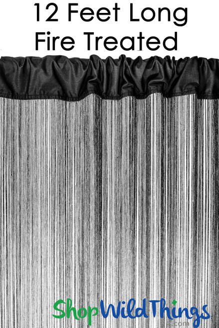 Black Fire Treated String Curtain Fringe Panel for Doors and Windows, 12' Long Rod Pocket Curtain Backdrop by ShopWildThings.com