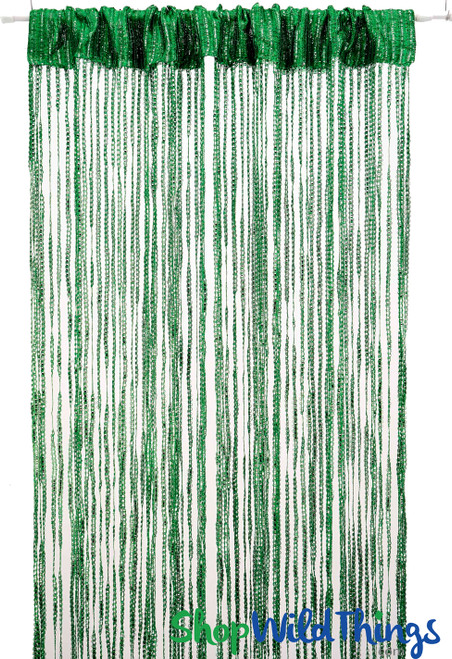 String Curtains - Sparkle Green w/Tension Rod - 6.4' Long