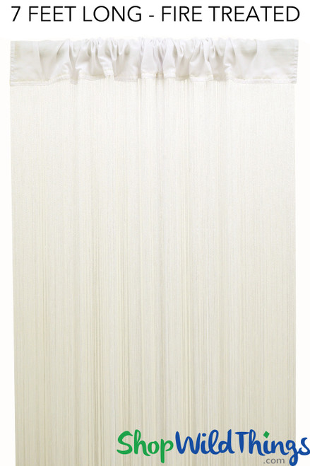 "String Curtain Off White 3ft x 7ft  - Fire Treated - Polyester & Cotton ""Nassau"""