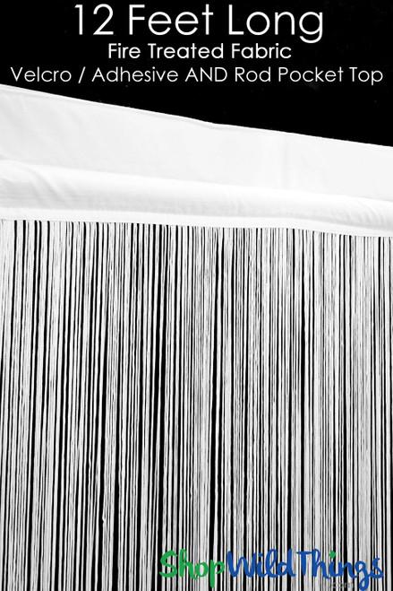 "BARGAIN! SLIGHT DEFECT - String Curtain White 3 Ft x 12 Ft - Fire Treated - Polyester & Cotton ""Nassau"" Velcro Top & Rod Pocket!"