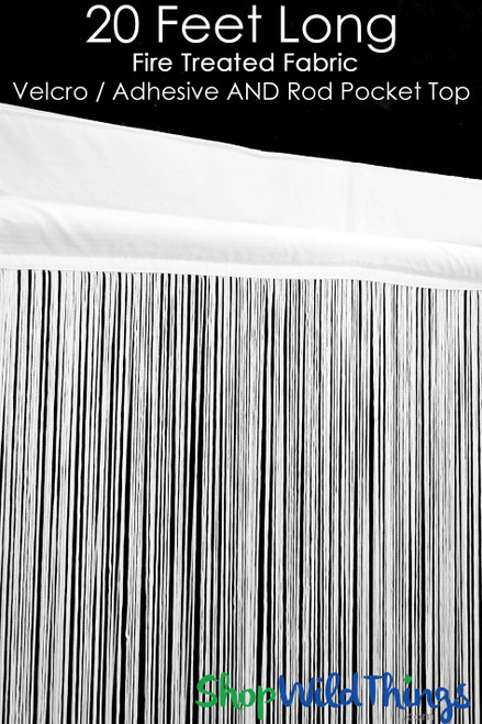 """String Curtain White 3 Ft x 20 Ft - Fire Treated - Polyester & Cotton """"Nassau"""" Velcro Top & Rod Pocket!"""