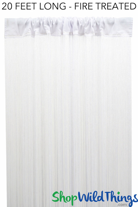 """String Curtain White 3ft x 20ft  - Fire Treated - Polyester & Cotton """"Nassau"""""""
