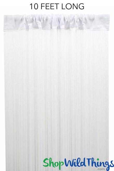 "String Curtain White 3 ft x 10 ft - Polyester & Cotton ""Nassau"""