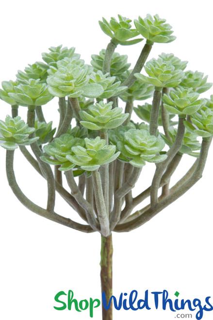 """Artificial Green Velvet Succulent - 10"""""""