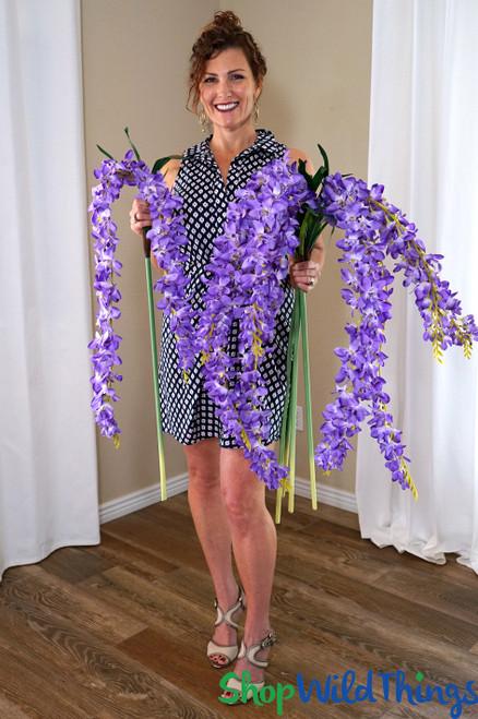 "Super Premium Cascading Silk Flowers - 66"" Purple"