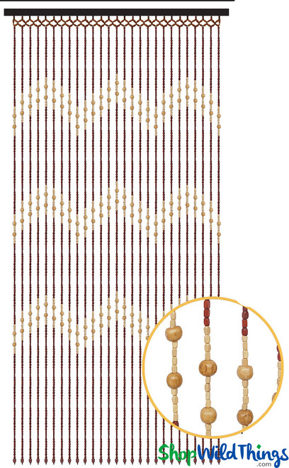 "Wooden Bead Curtain - ""Tao"" - 35"" x 69"" - 27 Strands"