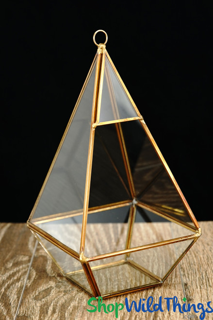 """Geometric Hanging or Tabletop Terrarium & Candle Holder- Gold - 9 1/2"""" Tall Diamond"""
