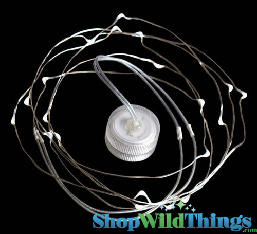 """Acolyte Toronado 20 - 9 ft Memory Wire Waterproof Acolyte LED Light Strand - Small """"Hideable"""" Round Battery Pack!"""