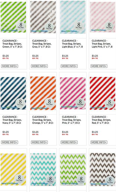 1 LOT AVAILABLE!  CLEARANCE Treat Bag Lot - Chevron, Stripes, Dots - Asst Colors - 7,976 Pcs!