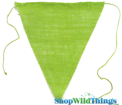"""1 LOT AVAILABLE! CLEARANCE Jute Triangle Banner 9.5x12"""" - Apple Green - 139 Pcs!"""