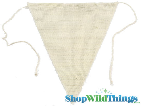 """1 LOT AVAILABLE! CLEARANCE Jute Triangle Banner 9.5x12"""" - Ivory - 144 Pcs!"""