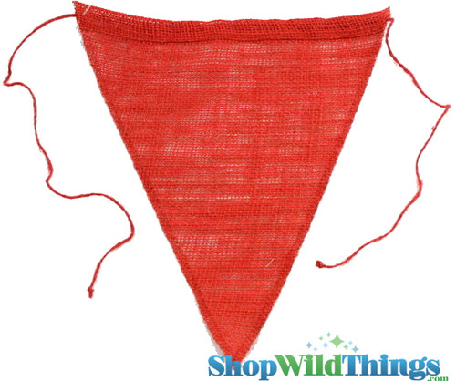 """1 LOT AVAILABLE! CLEARANCE Jute Triangle Banner 9.5x12"""" - Red - 134 Pcs!"""