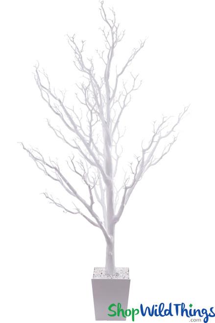 COMING SOON! Artificial Manzanita Tree in Pot, 6 Feet Tall - Bright White (Bendable!)