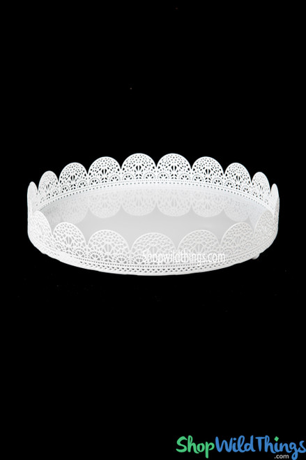 White Eyelet Treat Tray - Metal (as low as $9.40 each)