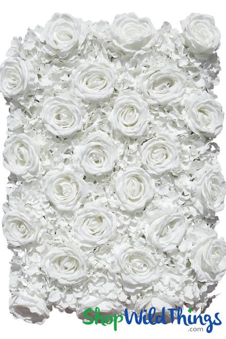"Flower Wall 19"" x 25 1/2"" Premium Silk Roses & Hydrangeas - Pure White"