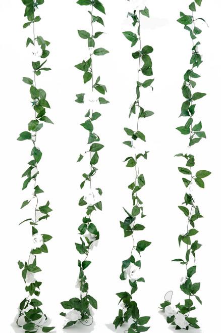 Flower Garland - Silk Rose - 8' - White - BUY MORE, SAVE MORE!