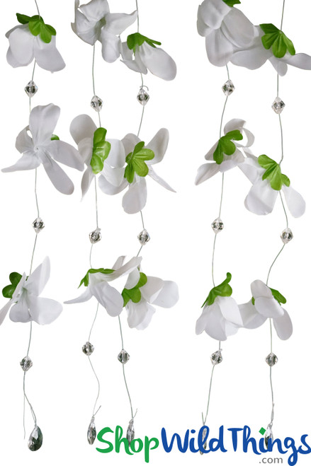 """Hanging Flower Garland with Beads """"Kamala"""" - White 22"""" - 12 Strands Included"""