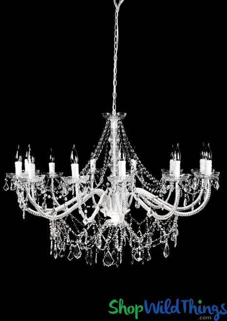 "Chandelier ""Venezia"" White & Crystal - 40"" x 28"" - 12 Lights! Extra Large!"