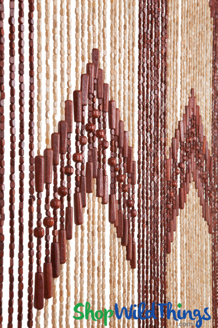 "Wooden Bead Curtain - ""Dynasty"" - 35"" x 78"" - 52 Strands (Extra Coverage)"