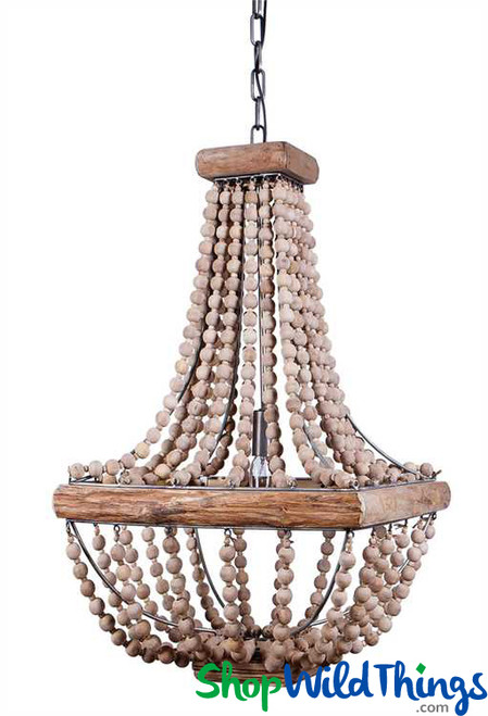 Metal Chandelier - Wood Trim & Round Wood Beads, 28""