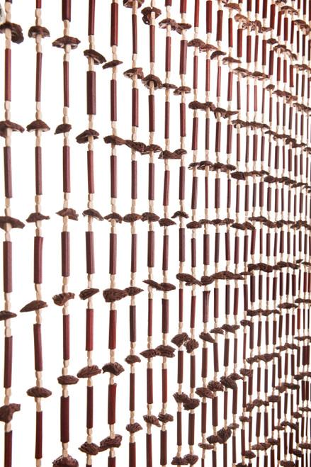 "Bamboo Bead & Peach Pits Curtain - Niven - 35.5"" x 70"" - 27 Strands"