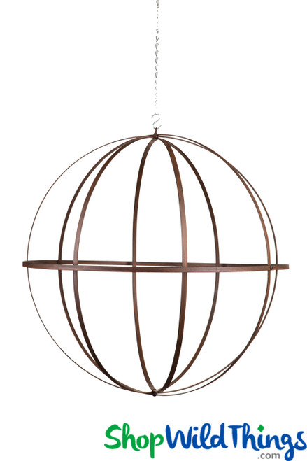 "Wrought Iron Folding Ball Sphere, Antique Finish, 24"""