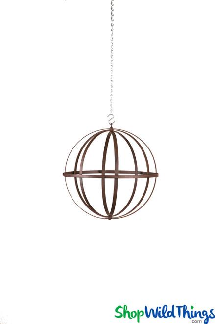 "Wrought Iron Folding Ball Sphere, Antique Finish, 12"""