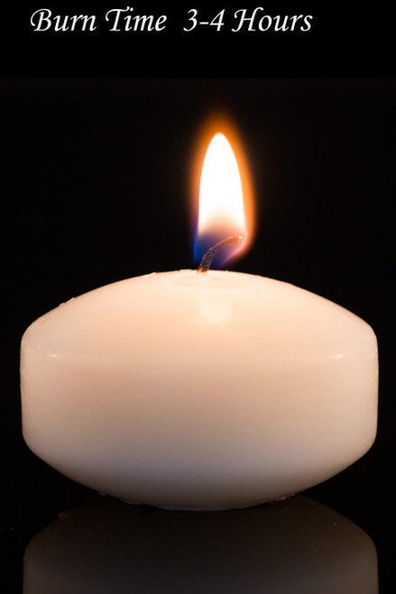 """Floating Candles Ivory 2"""" 4pcs - Burn Time 3-4 Hours - Unscented, Dripless"""
