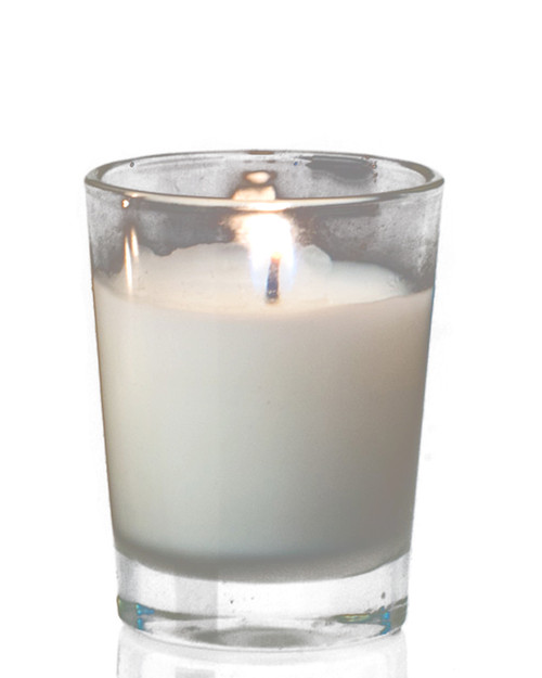 """Poured Glass Votive Candles 1.5x2"""" 12 pcs - Burn Time 4.5-5.5 Hours - Unscented White"""
