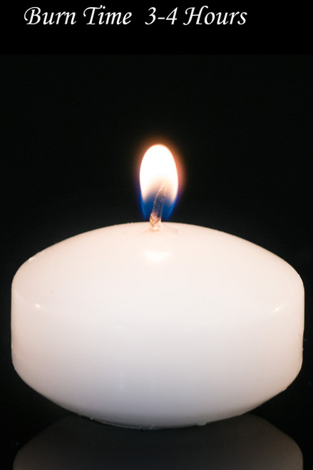 """Floating Candles White 2"""" 4pcs - Burn Time 3-4 Hours - Unscented, Dripless"""