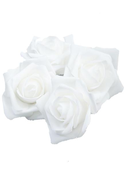 """Real Feel Foam Roses 2"""" - White - 12 Pcs (Floating!)"""