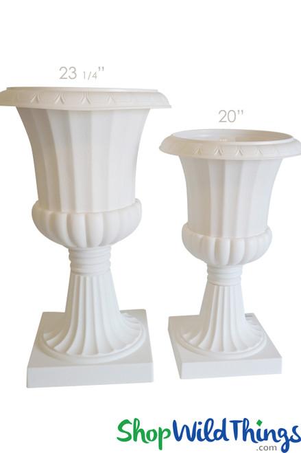"Decorative Planter & Urn - White 20"" Tall"