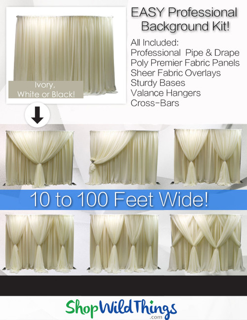 Wedding Backdrop Pipe and Drape, Sheers, Fabric