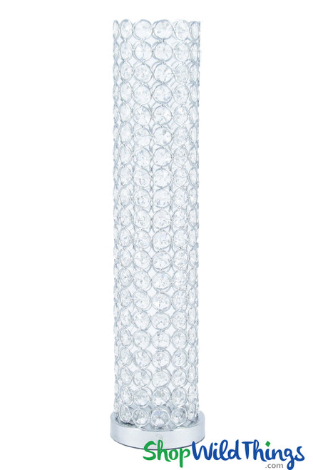 """COMING SOON! Beaded Real Crystal Cylinder Silver """"Prestige"""" (Flowers or Candles) - 16 1/2"""""""