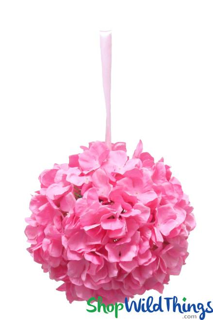 "Flower Ball - Silk Hydrangea - Pomander Kissing Ball 8"" - Pink"