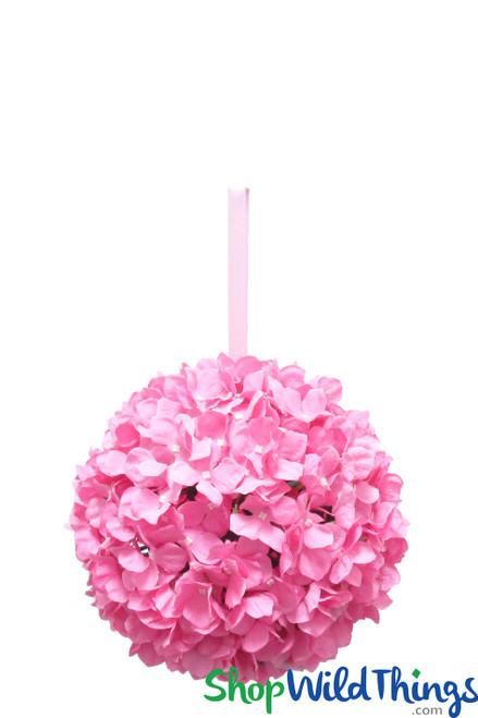 "Flower Ball - Silk Hydrangea - Pomander Kissing Ball 10"" - Pink"