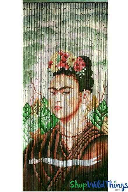 "Bamboo Painted Beaded Curtain ""Frida Kahlo"" - 125 Strands"