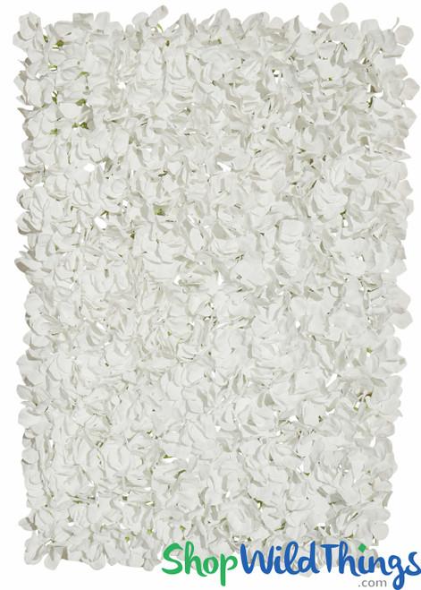 "Flower Wall 17"" x 25"" Silk Hydrangeas - White"