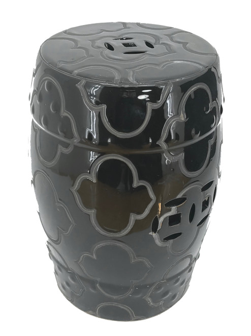 """Garden Stool """"Liang"""" Black - Etched Mod Pattern 18.5"""" x 13.5"""""""