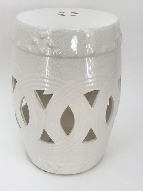 "White Ceramic Garden Stool - ""Margo"""