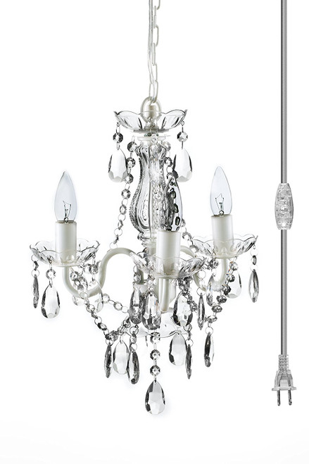 """Chandelier Gypsy White & Clear - 16"""" x 13"""" - 3 Lights - With Plug - Collapsible"""