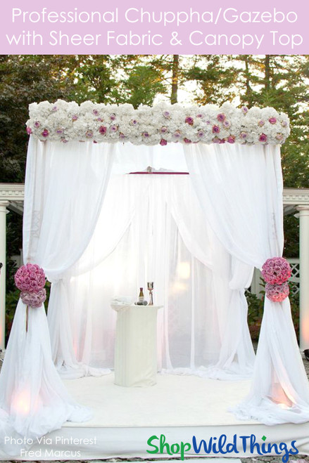 Wedding & Event Canopy Professional Series With Sheer Curtains & Top Canopy - 8' Tall by 6'-10' Wide