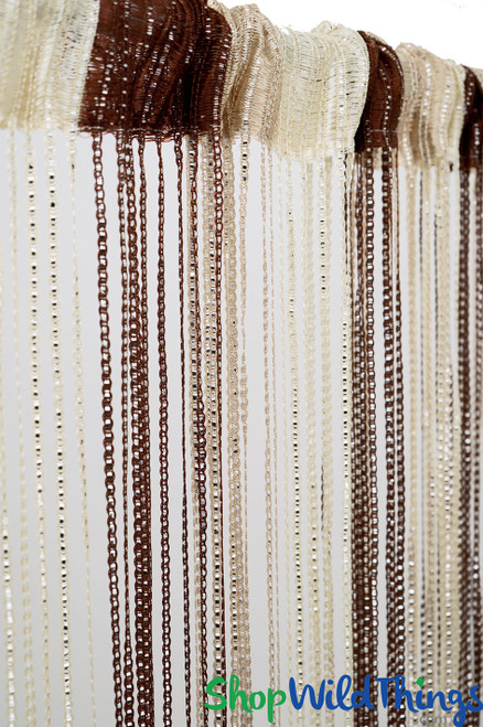 "String Curtains - Sparkle Brown-Tan-Cream Mix w/Tension Rod - 6' 4"" Long"