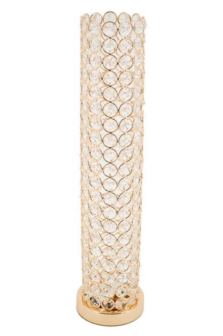 """Beaded Real Crystal Cylinder Gold """"Prestige"""" (Flowers or Candles) - 16 1/2"""""""