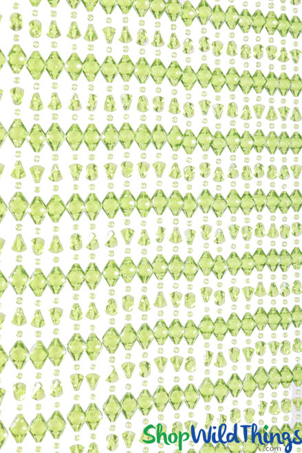 "Acrylic Beaded Curtain ""Derry"" Green 35 1/2"" x 78"" (6.5') - 34 Strands"