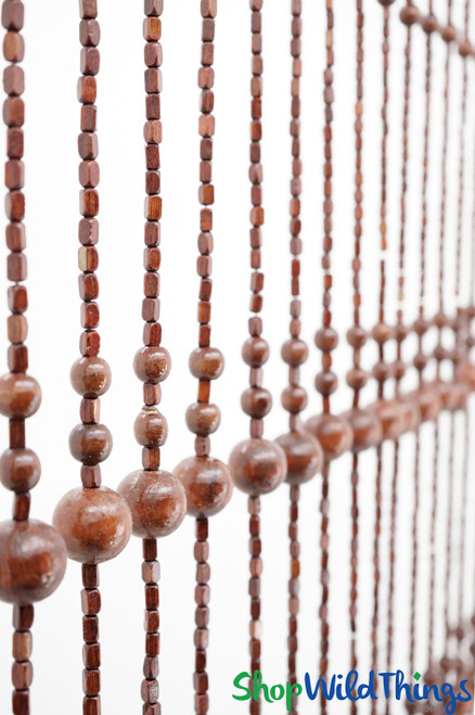 """Wooden Bead Curtain - """"Foster Brown"""" - 35"""" x 69"""" - 19 Strands"""