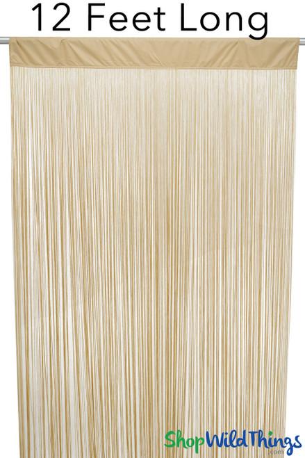 "String Curtain Golden Blonde 3 Ft x 12 Ft - Polyester & Cotton ""Nassau"""