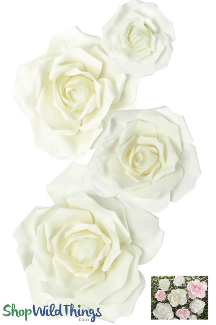 "Real Feel Foam Rose 4Pc Set - 8"", 12"", 15"" & 20"" - Ivory (Floating)  - Make Flower Walls!"