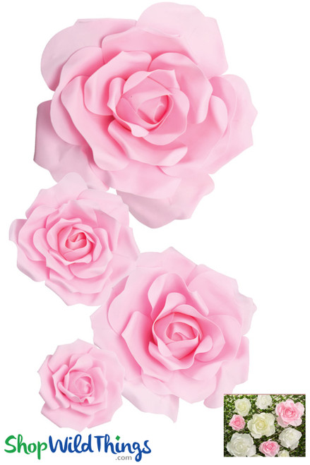 "Real Feel Foam Rose 4Pc Set - 8"", 12"", 15"" & 20"" - Pink (Floating) - Make Flower Walls!"