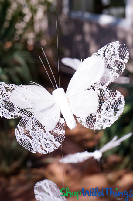"Butterfly Garland ""Heaven"" - White Lace w/Real Feathers - 5'  Long"